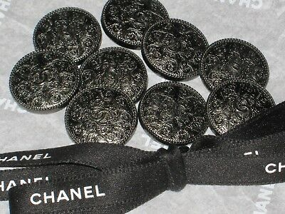 Chanel  9 Metal Dark Silver Cc Logo Front  Button  18 Mm / 3/4'' New Lot 9