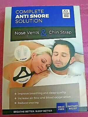 Silent Sleep Complete Anti-Snore Solution Adjustable Nose Vents & Chin Strap NEW