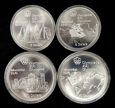 Lot of 4 1976 Montreal Olympics Commemorative Sterling Silver Coins from Canada!