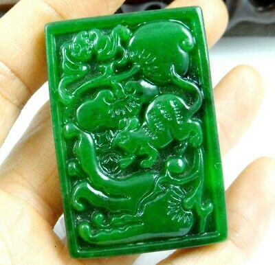 China Old Genuine Jadeite Emerald Jade carved lucky Pendant Crane fish T71