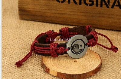 Fashion Men's  Cowhide Leather Bracelet Chinese Traditional Tai Chi Lucky Chain