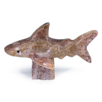 """Unique Hand Carved Marble Stone Tan Stingray Figurine Carving 4/"""" Long"""