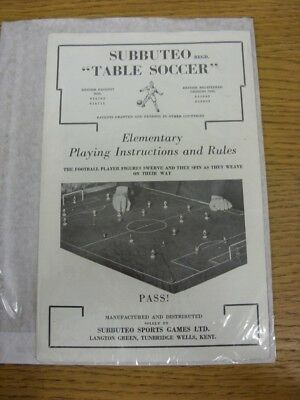 circa 1960's Subbuteo: Table Soccer - Elementary Playing Instructions and Rules,