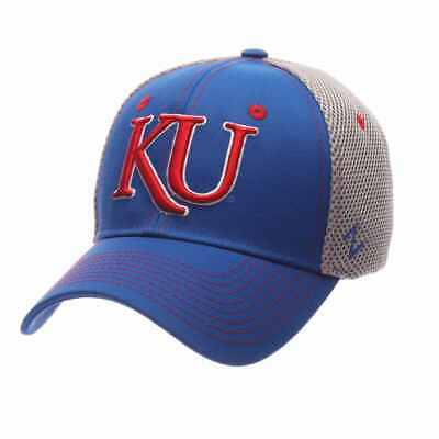 timeless design 4fda5 b8d13 Kansas Jayhawks Zephyr Pregame Blue Gray Stretch Fit Structured Hat Cap