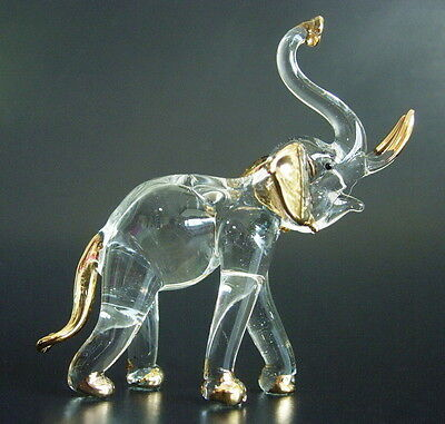 Curio Display Glass ELEPHANT Wild African Indian Animal Painted Glass Ornament