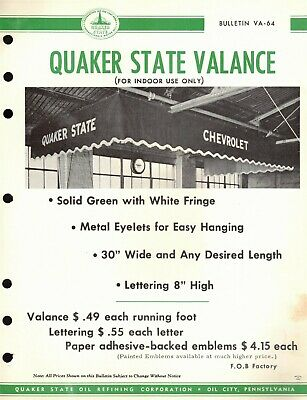 """Vintage 1964 QUAKER STATE """"INDOOR VALANCE"""" Jobbers CAT SELL SHEET Advertising"""