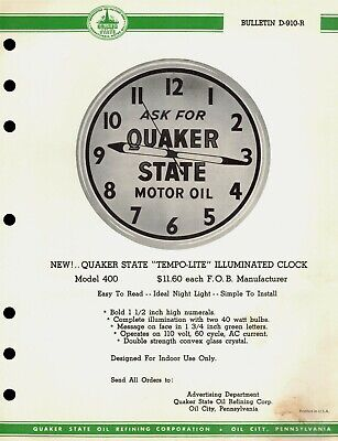 "Vintage 1960's QUAKER STATE ""TEMPO-LITE"" Illuminated CLOCK Jobbers SELL SHEET"
