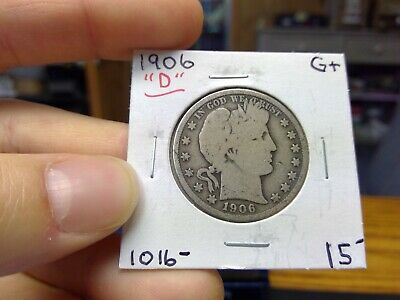 1906 D BARBER HALF DOLLAR 50C VG Fine +++ US 90% Silver 1906-D Priced To Sell #B