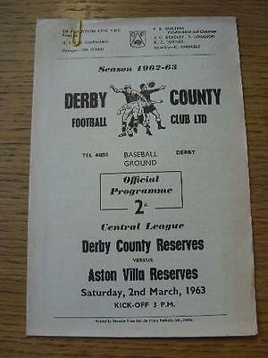 02/03/1963 Derby County Reserves v Aston Villa Reserves  (4 Pages). No obvious f