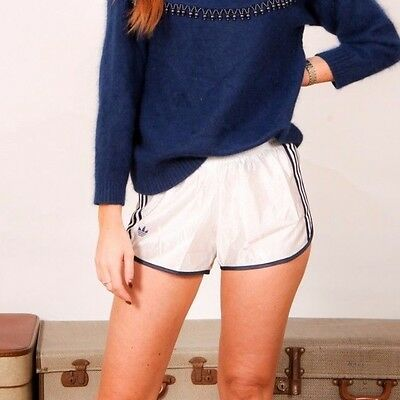 80s vintage shiny white & blue ADIDAS originals hotpants shorts