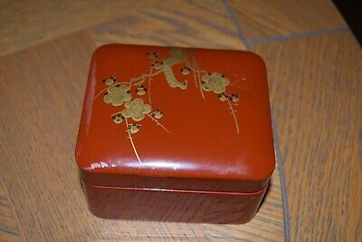 Japanese Red And Gold Lacquer Box And Cover