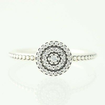 183840cef New Authentic Pandora Ring Radiant Elegance 190986CZ Sterling Clear CZ 48  4.5