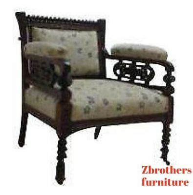 Antique Victorian Carved Fireside Lounge Living Room Arm Chair B