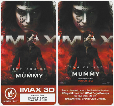 THE MUMMY Regal IMAX Collectible Movie Ticket Sofia Boutella Tom Cruise Tickets