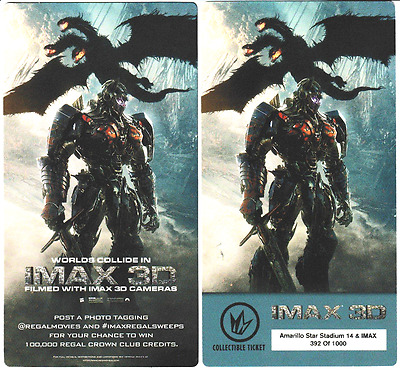 """Transformers """"The Last Knight"""" Regal IMAX Ticket Collectible Movie Tickets Card"""