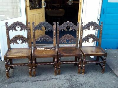 4 x Antique / Vintage Chairs in Jacobean Style .