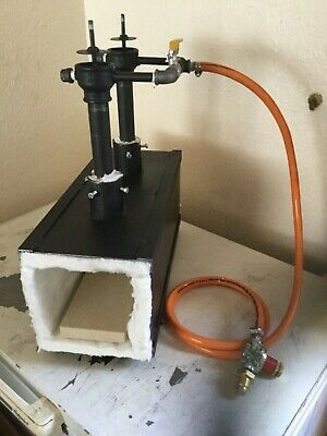 Twin Burner Gas Propane Forge Furnace  Burner  Farrier Blacksmith FREE RIGIDIZER