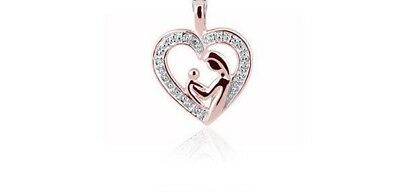 Rose Gold Over Sterling Silver Diamond Mother/child Heart Necklace Pendant Chain