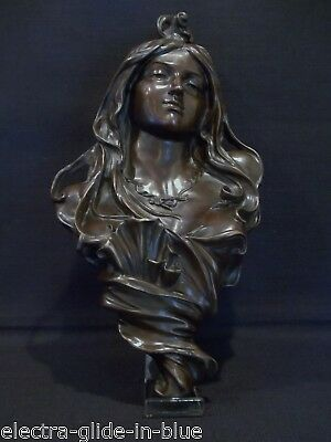 French Art Nouveau Bronze Female Bust Wall Sconce C1900 (Abb004)