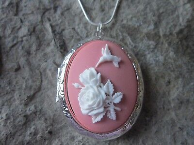 Stunning Hummingbird And Roses Silver Plated Locket (White On Pink) - Bird -Rose
