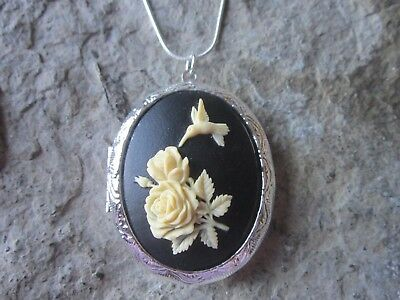 Stunning Hummingbird And Roses Silver Plated Locket (Cream/Black) - Bird -Rose