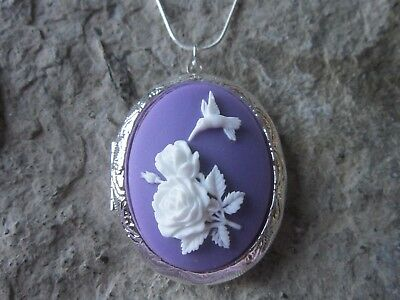 Stunning Hummingbird And Roses Silver Plated Locket (White On Purple) - Bird