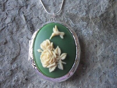 Stunning Hummingbird And Roses Silver Plated Locket (Cream/Green) - Bird -Rose