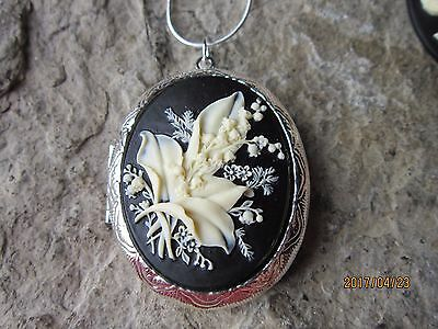 Lily Of The Valley Cameo Silver Plated Locket - Quality - Cream/black - Unique