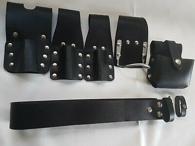 Scaffold Black Leather Tools Belt 6IN1 Tape Level Hammer Holder 2 Spanner Frog