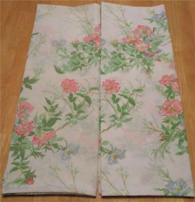 Vintage Pair Utica Pink & Blue Floral Percale Standard Pillowcases  U.S.A. Made