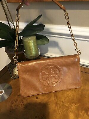 2a31a833d2 Tory Burch Bombe Reva Clutch in Luggage Brown Style # 18169698 MSRP $350
