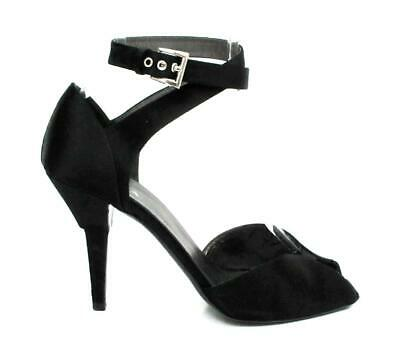 a5bf32a14d4 PRADA BLACK SATIN Peep Toe Ankle Strap Pumps Sz.39