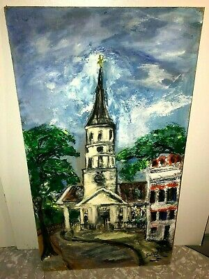 CHAPEL PAINTING VINTAGE PASTELS 1950s HISTORICAL SIGNED 25x14-INCHES CHATHEDRAL!