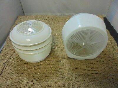 Lot of 2 Vintage Frosted Outdoor Porch Glass Light Shades Star Pattern Round