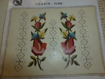 Vintage Embroidery Crewel Wool Floral Pillow Kit