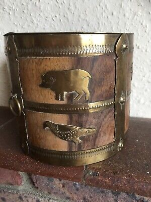 Victorian Brass Bound Coopered Pot With Animal Decorations