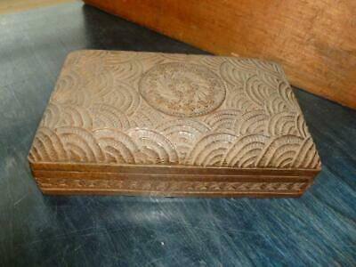 "Vintage Wooden Box Carved Design Floral Center Hinged Lid 5"" X 8"" India"