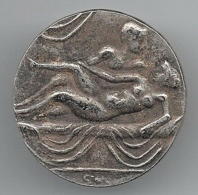 Roman Silver Coin Unknown Old Rique Naked Woman Prostitute Antique Unresearched