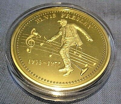 ELVIS PRESLEY Gold Coin King of Rock n Roll Pop Music Singer Legend Medallion US