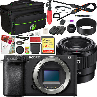 Sony a6400 Mirrorless 4K Camera Body ILCE-6400/B + 50mm Prime Lens Kit Bundle