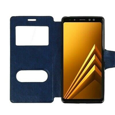 BRAND NEW Navy Leather Magnetic Double Window Book Case Cover for Samsung Galaxy