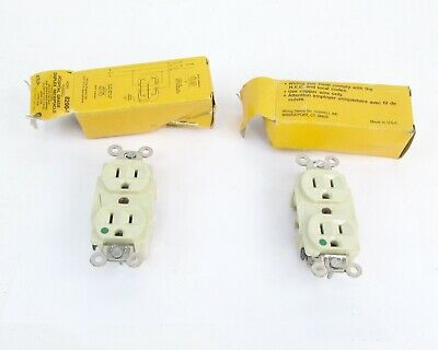 Lot of (2) Hubbelll 8200-1 Hospital Grade Duplex Receptacle 2 Pole 3 Wire