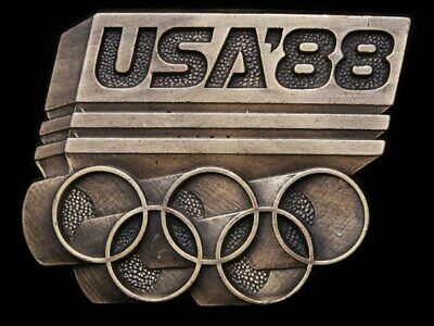 Ia01125 Vintage 1988 Cut-Out ****Usa '88 Olympics**** Brasstone Buckle