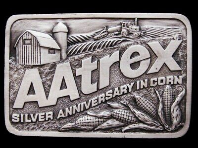 IC19155 GREAT 1990s *AATREX SILVER ANNIVERSARY IN CORN* PEWTER BUCKLE
