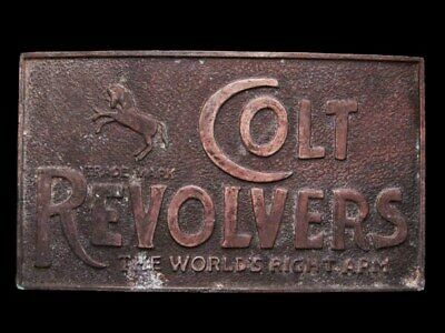 IB09127 VINTAGE 1970s *** COLT REVOLVERS*** WORLDS RIGHT ARM BRASS PLATED BUCKLE