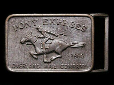 IB23124 COOL VINTAGE 1970s **PONY EXPRESS - SINCE 1860*** BRASS PLATED BUCKLE