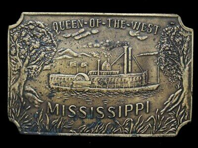IC13120 VINTAGE 1970s ***QUEEN OF THE WEST*** PADDLEWHEEL BOAT BUCKLE