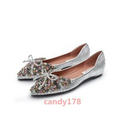 Hot Sale Womens Flat Shoes Bling Rhinestones Pointy Toe Pull On Casual Date Chic