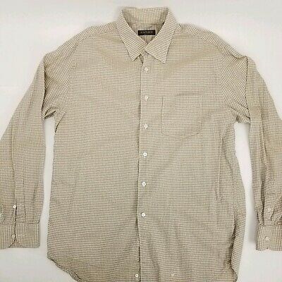 Canali Mens sz XL Long Sleeve Button Front Houndstooth Dress Shirt Beige Italy