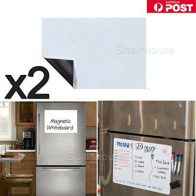 2X A4 Marker Message Board Magnetic Fridge Soft Whiteboard Home Office Memo